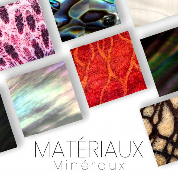 Mineral materials: Mother of Pearl, Coral, Abalone - beautiful pieces
